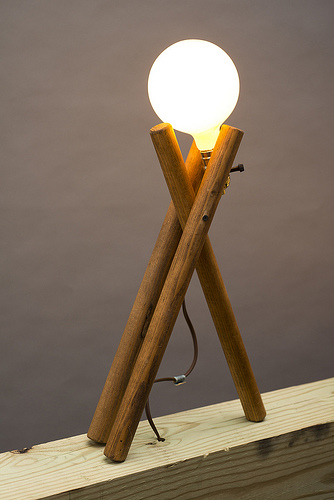 House Lamp No. 3, 2012. Wood, Light Bulb, Light Fixture, Cord 20 X 9 X 4  Inches